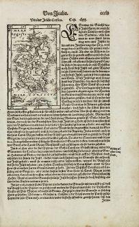 Antique Maps, Münster, France, Corsica, Corse, 1574: Von der Insel Corsica