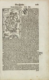 Antike Landkarten, Münster, Frankreich, Korsika, 1574: Von der Insel Corsica