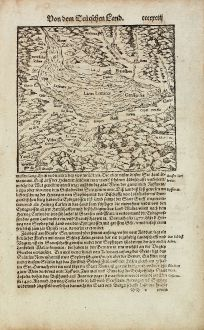 Antike Landkarten, Münster, Schweiz, Genfersee, 1574: [Lacus Lemanus / Genffer See]
