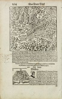 Antique Maps, Münster, Switzerland, Lake Neuchatel, Lac de Neuchatel, 1574: [Neuwnburger See]
