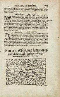 Antique Maps, Münster, Germany, Black Forest, Alsatia, Alsace, 1574: Von dem Elsasz, und seiner grossen fruchtbarkeit, dem kein Land am Rheinstrom mag verglichen werden.