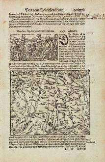 Antike Landkarten, Münster, Deutschland, Bayern, Allgäu, 1574: Das Algoew