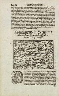 Antike Landkarten, Münster, Deutschland, Bayern, Franken, 1574: Franckenland in Germania. Wo die Francken zum ersten herkommen seind.