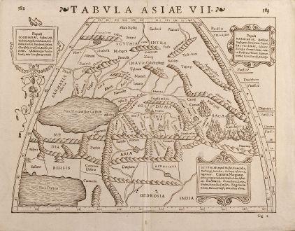 Antike Landkarten, Münster, Mittlerer Osten, 1571: Tabula Asiae VII