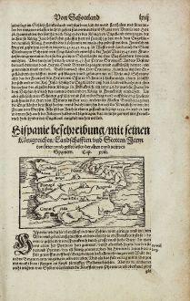 Antike Landkarten, Münster, Spanien - Portugal, 1574: Hispanie beschreibung, mit seinen Koenigreichen, Landschafften und Stetten...
