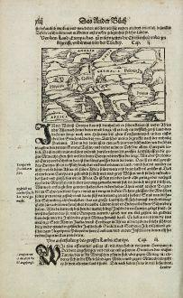 Antike Landkarten, Münster, Europa Kontinent, 1574: Von dem Land Europa, das zu unsern zeiten die Christenheit under im begreifft, und etwas von der Türckey.