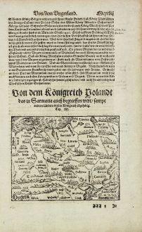 Antike Landkarten, Münster, Polen, 1574: Von dem Königreich Polandt das in Sarmatia auch begrieffen wirt...