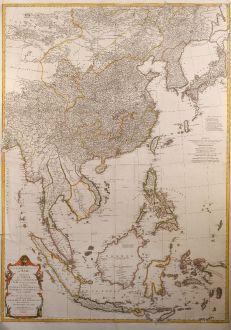 Antike Landkarten, d Anville, Südost Asien, 1752: Seconde partie de la carte d'Asie contenant la Chine et partie de la Tratarie, l'Inde ... Sumatra, Java, Borneo, Moluques,...