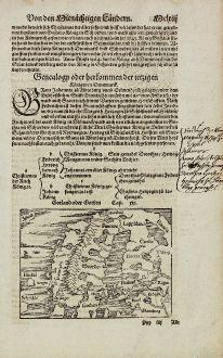 Antike Landkarten, Münster, Skandinavien, 1574: Gotland oder Gothen