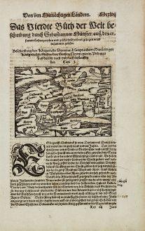 Antike Landkarten, Münster, Skandinavien, Dänemark, Schweden, 1574: Beschreibung des Koenigreichs Dennmarck...