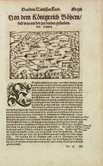 Antike Landkarten, Münster, Tschechien - Böhmen, 1574: Von dem Koenigreich Boehem, und was mit der zeit darinn gefunden.
