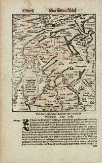 Antike Landkarten, Münster, Niederlande, Friesland, 1574: Von der Frieszlaender Nammen und der Statt Grüningen.