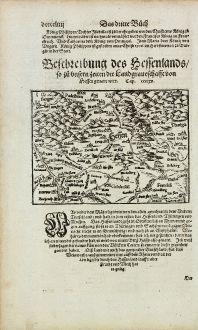 Antike Landkarten, Münster, Deutschland, Hessen, 1574: Beschreibung des Hessenlands, so zu unsern Zeiten die Landgraveschafft von Hessen genant wirt.