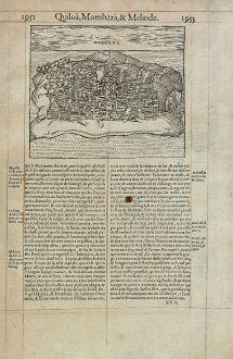 Antike Landkarten, de Belleforest, Ostafrika, Kenia, Mombasa, 1575: Mombaza