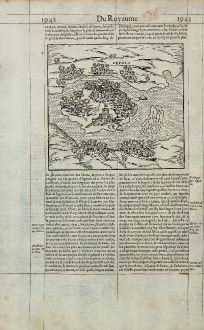 Antique Maps, de Belleforest, Mozambique, Cefala, Sofala, 1575: Cefala