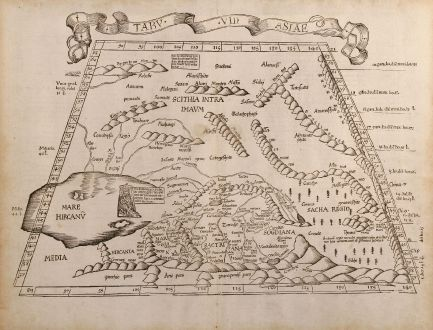 Antique Maps, Fries, Middle East, Caspian Sea, 1525: Tabu. VII Asiae