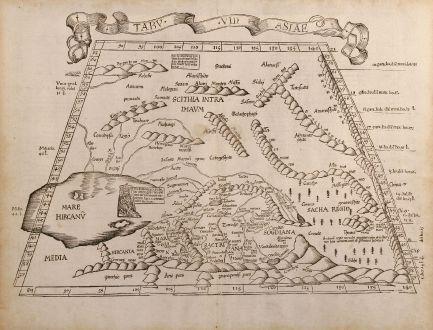 Antike Landkarten, Fries, Mittlerer Osten, Kaspische Meer, 1525: Tabu. VII Asiae
