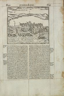 Antique Maps, de Belleforest, Morocco, Asilah, 1575: Arzilla