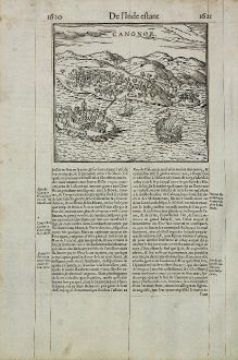 Antique Maps, de Belleforest, India, Kannur, Cannanore, 1575: Canonor