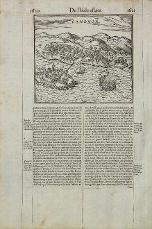 Antike Landkarten, de Belleforest, Indien, Kannur, Cannanore, 1575: Canonor