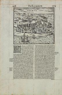 Antique Maps, de Belleforest, Middle East, Iran, Persian Gulf, Hormuz, 1575: Ormus