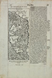 Antique Maps, de Belleforest, Greece, Corfu, 1575: La Description de l'Isle de Corfou / Corfu