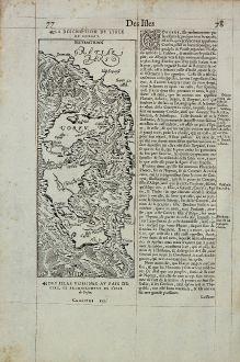 Antike Landkarten, de Belleforest, Griechenland, Korfu, 1575: La Description de l'Isle de Corfou / Corfu
