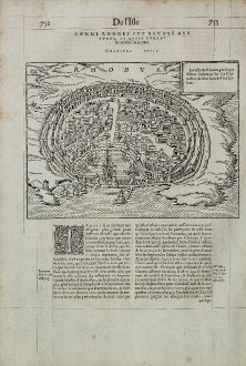 Antique Maps, de Belleforest, Greece, Rhodes, Rodos, 1575: Rhodus