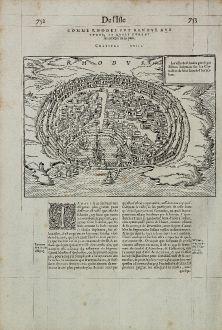Antike Landkarten, de Belleforest, Griechenland, Rhodos, Rodos, 1575: Rhodus