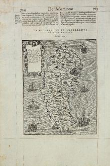 Antique Maps, de Belleforest, Greece, Rhodes, Rodos, 1575: Rhodus Isle renommee du Soleil, iadis republique, & Vatuersite, puis retraite des Chevaliers de Saint Iean ores suiette...