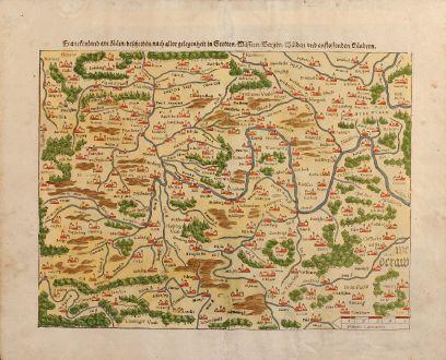 Antique Maps, Münster, Germany, Franken, 1550: Franckenland am Main, beschriben nach aller gelegenheit in Stetten, Wassern, Bergen, Walden und anstossenden