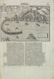 Antique Maps, de Belleforest, Greece, Peloponnese, Methoni, 1575: Modon Cite, situee en la Moree.