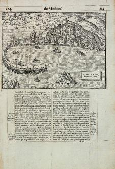 Antike Landkarten, de Belleforest, Griechenland, Peloponnes, Methoni, 1575: Modon Cite, situee en la Moree.