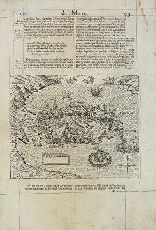 Antique Maps, de Belleforest, Greece, Peloponnese, Nafplio, 1575: Napoli Citta nella Provincia della Morea.