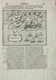 Antike Landkarten, de Belleforest, Balkan, Albanien, Durres, 1575: Durraze, iadis Dyrrache, ville d'Albanie, prise par le Turc sur la Venitiens.