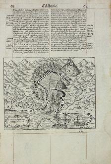 Antike Landkarten, de Belleforest, Balkan, Albanien, Vlora, 1575: La Valone, iadis Apollonie, cite d'Albanie, a presant occuppee par le Turc.