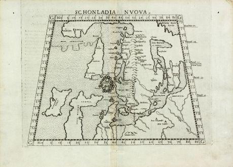 Antike Landkarten, Ruscelli, Skandinavien, 1561-64: Schonladia Nuova