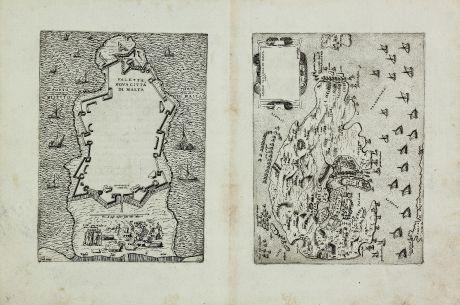 Antique Maps, Zenoi, Malta, Valetta, Gozo, 1567-69: Assedio de l'Isola di Malta 1565 / Valetta, nova Citta di Malta