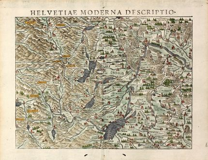Antique Maps, Münster, Switzerland, 1550: Helvetiae moderna descriptio