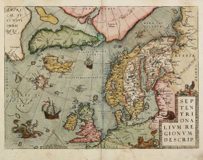 Antique Maps, Ortelius, Scandinavia, North Atlantic, North Pole, 1584: Septentrionalium Regionum Descrip.