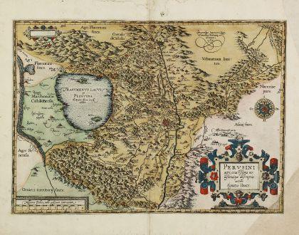 Antike Landkarten, Ortelius, Italien, Umbrien, Perugia, Lago Trasimeno, 1584: Perusini Agri, Exactissima Novissimaque Descriptio: Auctore Egnatio Dante