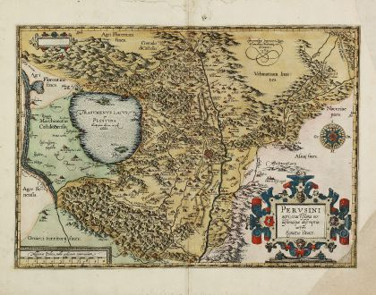 Antique Maps, Ortelius, Italy, Umbria, Perugia, Lake Trasimeno, 1584: Perusini Agri, Exactissima Novissimaque Descriptio: Auctore Egnatio Dante