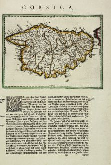 Antique Maps, Blaeu, France, Corsica, Corse, 1634: Corsica