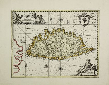 Antique Maps, Valk & Schenk, France, Corsica, Corse, 1700: Insulae Corsicae Nova & accurata Descriptio