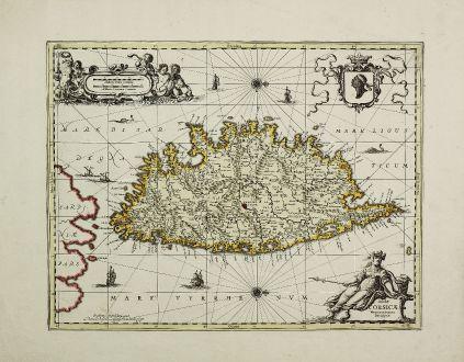 Antike Landkarten, Valk & Schenk, Frankreich, Korsika, 1700: Insulae Corsicae Nova & accurata Descriptio