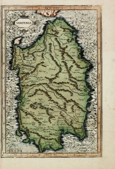 Antique Maps, Mercator, Italy, Sardinia, 1595: Sardina