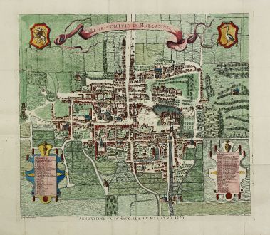 Antique Maps, Riemer, Netherlands, Den Haag, s-Gravenhage, 1730: Haga-comitis in Hollandia 1570