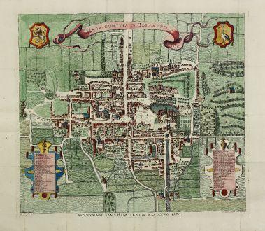 Antike Landkarten, Riemer, Niederlande, Den Haag, 1730: Haga-comitis in Hollandia 1570