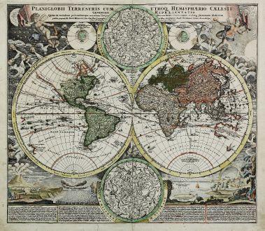Antike Landkarten, Homann, Weltkarte, 1710: Planiglobii Terrestris cum utroq Hemisphaerio Caelesti Generalis Repraesentatio