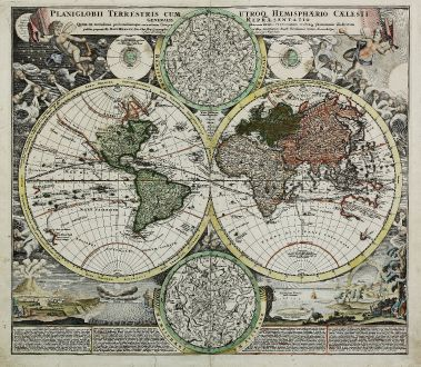 Antike Landkarten, Homann, Weltkarten, 1710: Planiglobii Terrestris cum utroq Hemisphaerio Caelesti Generalis Repraesentatio